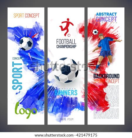 Euro 2016 France football championship. Sports banners with Soccer player and football ball against the background of the red, blue ink. Painted with watercolors. Isolate on white. Logo sport. - stock vector