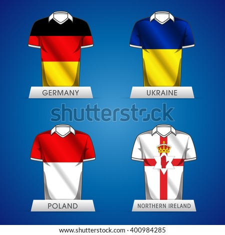 Euro 2016 France. Vector flags and groups. European football championship. Soccer tournament. GROUP D jerseys - stock vector