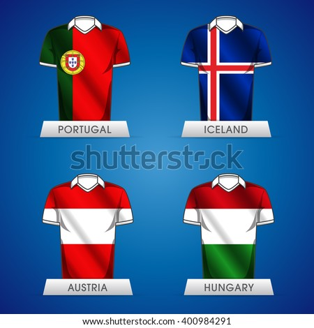 Euro 2016 France. Vector flags and groups. European football championship. Soccer tournament. GROUP F jerseys - stock vector
