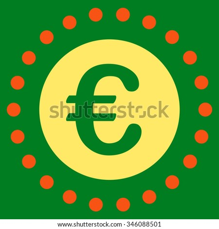 Euro Gold Coin vector icon. Style is bicolor flat symbol, orange and yellow colors, rounded angles, green background.