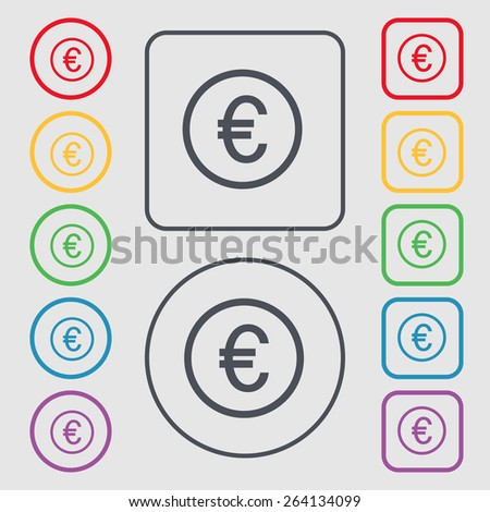 Euro icon sign. symbol on the Round and square buttons with frame. Vector illustration - stock vector