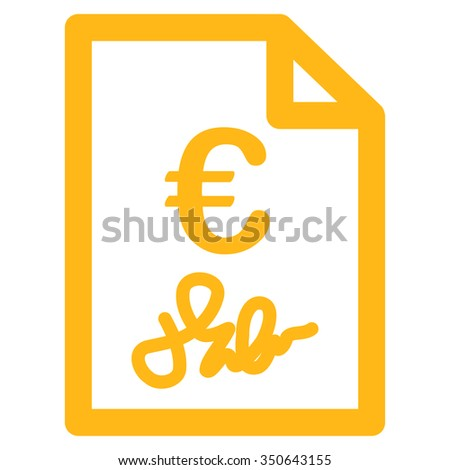 Euro Invoice vector icon. Style is flat symbol, yellow color, rounded angles, white background.