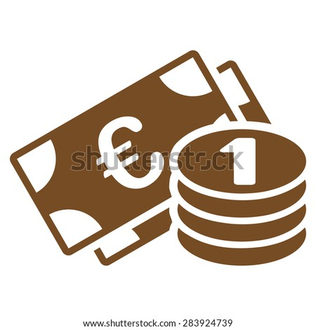 Euro money from BiColor Euro Banking Icon Set. Vector style: flat, brown symbol, rounded angles, white background. - stock vector