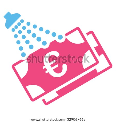Euro Money Laundry vector icon. Style is bicolor flat symbol, pink and blue colors, rounded angles, white background. - stock vector