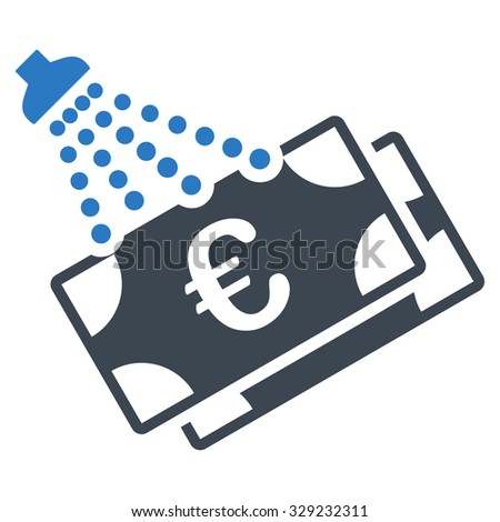 Euro Money Laundry vector icon. Style is bicolor flat symbol, smooth blue colors, rounded angles, white background. - stock vector