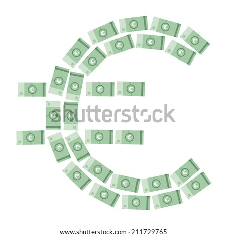 Euro money symbol made from banknotes isolated on white