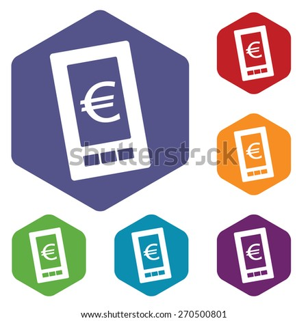 Euro phone rhombus icons set in different colors. Vector Illustration - stock vector