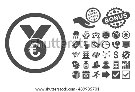 Euro Prize Medal icon with bonus images. Vector illustration style is flat iconic symbols, gray color, white background.