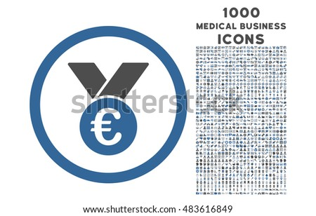 Euro Prize Medal rounded vector bicolor icon with 1000 medical business icons. Set style is flat pictograms, cobalt and gray colors, white background.