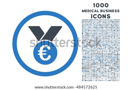 Euro Prize Medal rounded vector bicolor icon with 1000 medical business icons. Set style is flat pictograms, smooth blue colors, white background.
