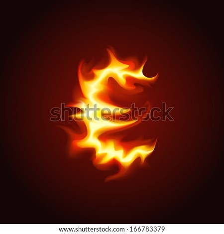 Euro sign of fire. Vector illustration.