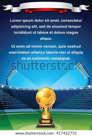 Euro Soccer Cup Background. Football Field with Abstract Golden Cup. Vector - stock vector