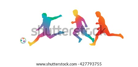 EURO 2016. Soccer players. Championship football 2016 summer. Soccer players silhouette with soccer ball isolated. Champion league players. Soccer Players Football field. Football Champion League. - stock vector