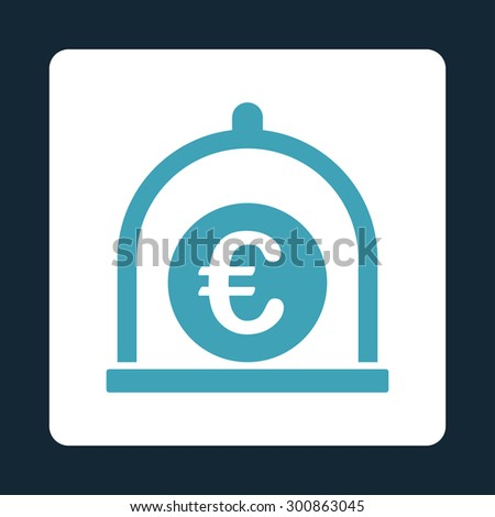 Euro standard icon. Vector style is blue and white colors, flat rounded square button on a dark blue background. - stock vector