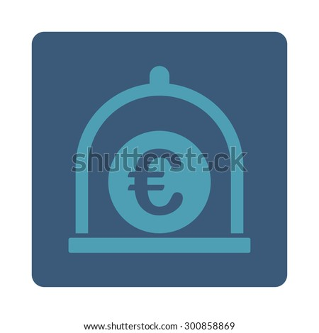 Euro standard icon. Vector style is cyan and blue colors, flat rounded square button on a white background.