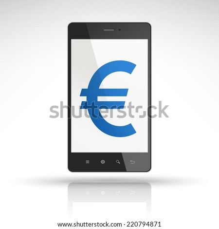 euro symbol on mobile phone isolated on white  - stock vector