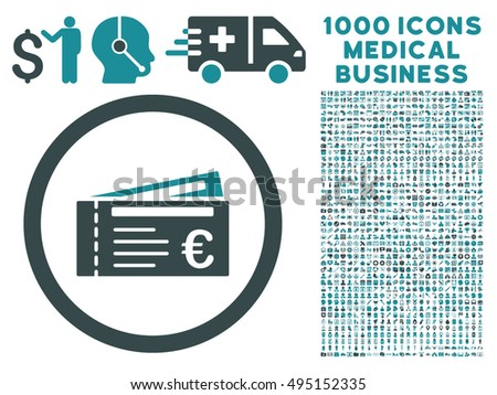 Euro Tickets icon with 1000 medical commerce soft blue vector design elements. Collection style is flat bicolor symbols, white background.