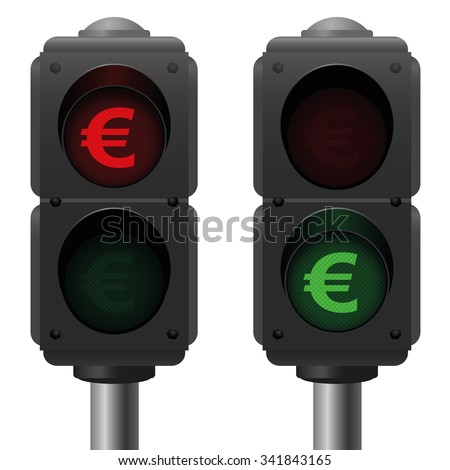 Euro traffic lights, as a symbol for good and bad finances. Isolated vector illustration on white background. - stock vector