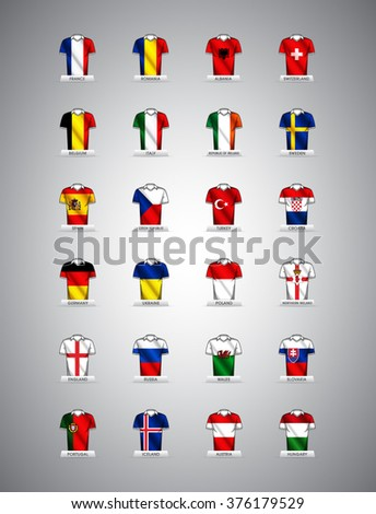 Euro 2016 vector groups. European football championship in France. Vector jerseys with country flags. - stock vector