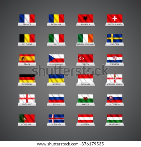 Euro 2016 vector waving country flags and groups. European football championship France 2016 - stock vector