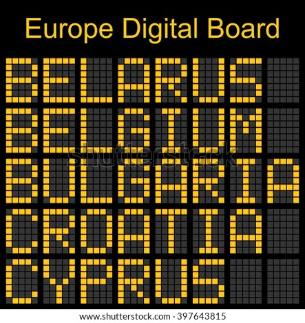 Europe airport digital boarding for Belarus-Belgium-Bulgaria-Croatia-Cyprus
