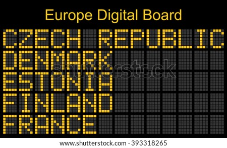 Europe airport digital boarding for Czech republic-Denmark-Estonia-Finland-France