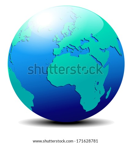 Europe and Africa, Globe World - The base map is from NASA and Hand Drawn using the pen tool for maximum detail  - stock vector