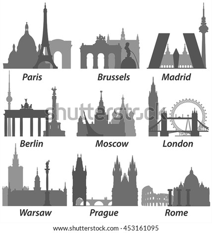 Europe Capitals Silhouettes