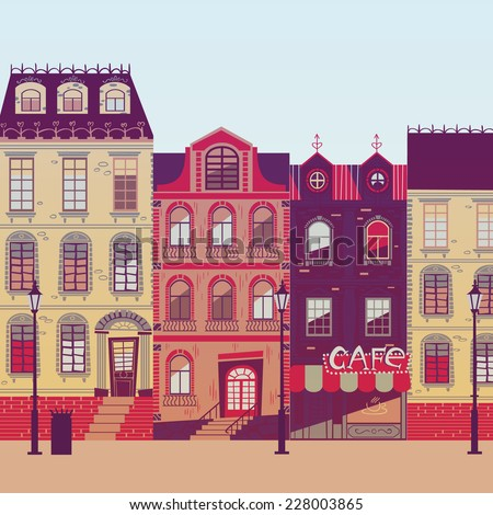 Europe city street in vector - stock vector