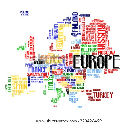 Europe continent city map tag cloud concept print. National capital of countries and other European cities word collage text pattern colorful vector, isolated on white. each country in different color - stock vector