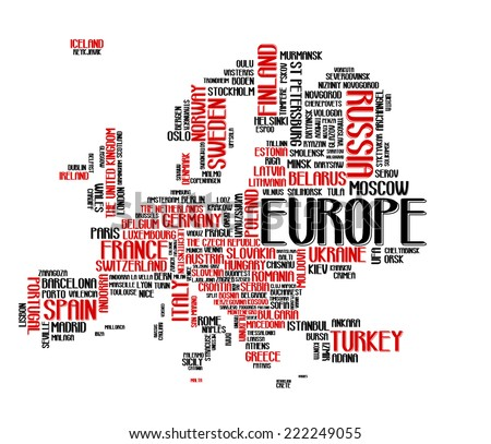 Europe continent city map tag cloud concept print. National capital of countries and other European cities area word collage text pattern, vector art image illustration, isolated on white background - stock vector