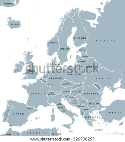 Europe countries political map with national borders and country names. English labeling and scaling. Illustration on white background.