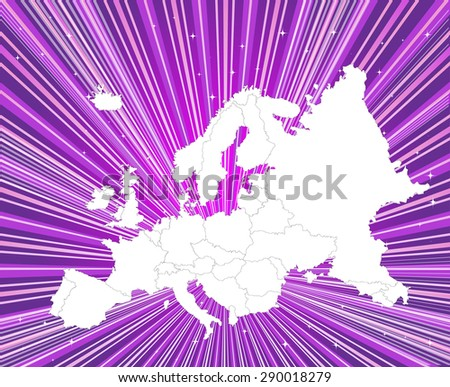 Europe - Detailed Map with Captivating Background - stock vector