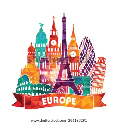 Europe detailed silhouette. Vector illustration - stock vector