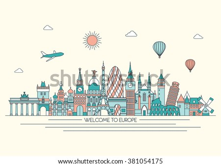 Europe detailed skyline. Vector line illustration. Line art style. Travel and tourism background - stock vector