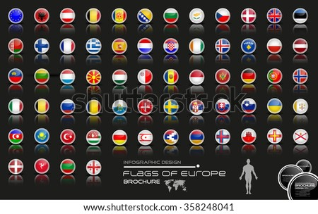 Europe flag icon set-modern-business - stock vector