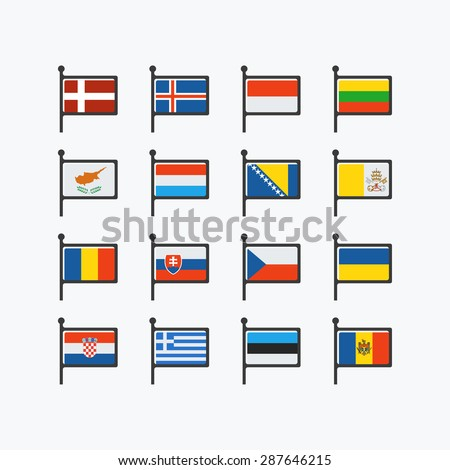 Europe flags, set of vector flat icons, part 2. - stock vector