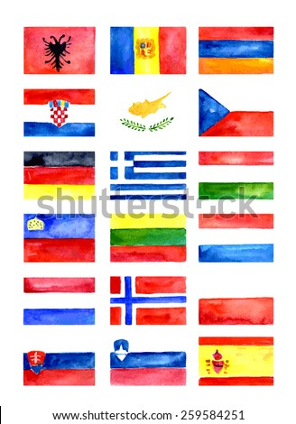 Europe flags. Watercolor vector shapes - stock vector