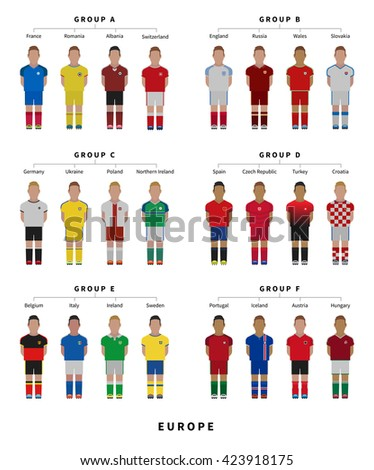 EUROPE 2016 Football in France, Soccer team. Player flat style vector illustration.