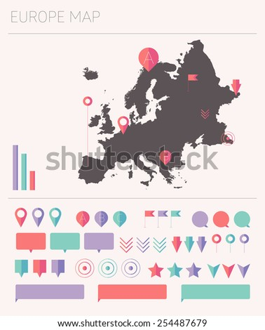 Europe high detailed map with set of info graphics elements, flat trendy vector illustration - stock vector