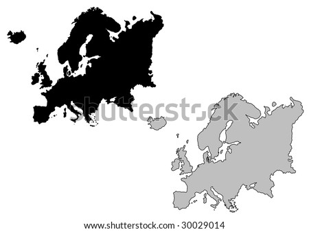 Europe map. Black and white. Mercator projection. - stock vector
