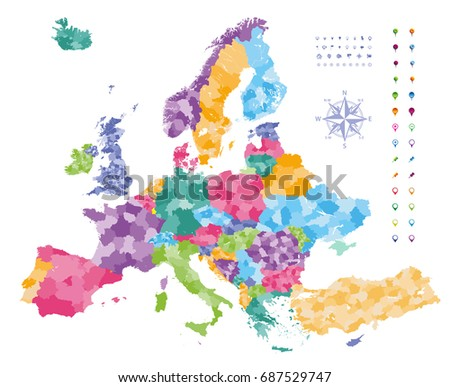 Europe map colored by countries regions stock vector 687529747 europe map colored by countries with regions borders navigation location and travel icons collection gumiabroncs Images