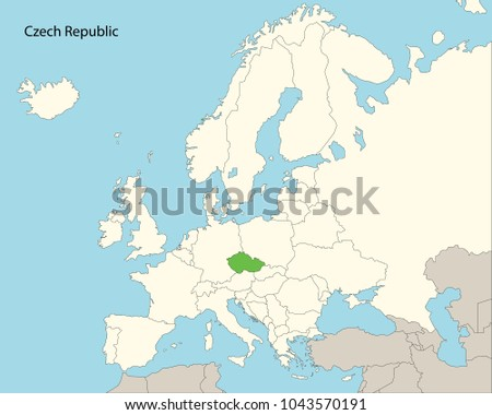 Europe Map Czech Republic Stock Vector 1043570191 Shutterstock