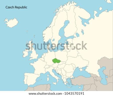 Europe Map Czech Republic Stock Vector 1043570191 Shutterstock