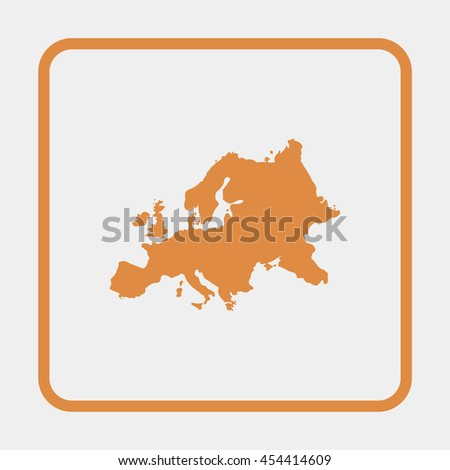 Europe map icon. - stock vector