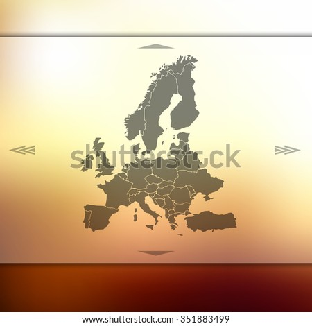 Europe map on blur background. Blur background with silhouette of Europe. Blur Europe. Europe. Europe map. Blur. Blur background. Silhouette of Europe. Silhouette Europe. European map. European union. - stock vector