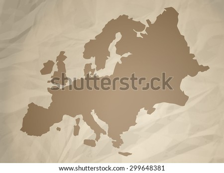 Europe Map on Retro Paper, Vector Illustration.  - stock vector