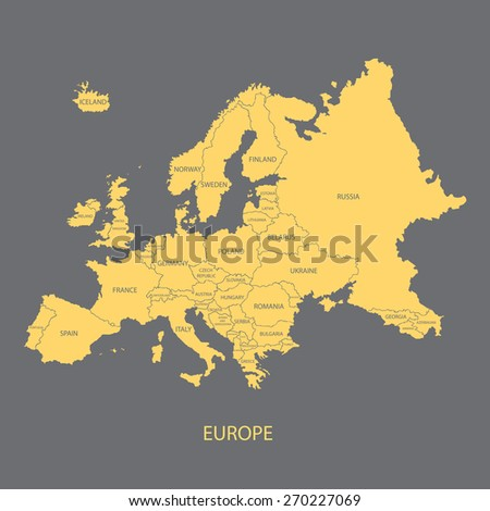 EUROPE MAP WITH BORDERS AND NAME OF THE COUNTRIES illustration vector - stock vector