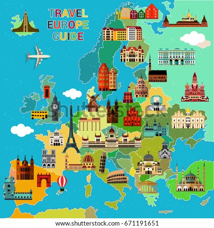 Europe map famous sightseeing travel guide vectores en stock europe map with famous sightseeing travel guide vector illustration gumiabroncs Images