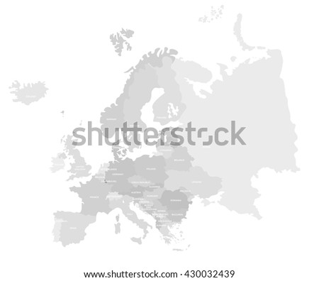 Europe modern detailed map. All european countries with names. Vector template of beautiful flat grayscale map design - stock vector